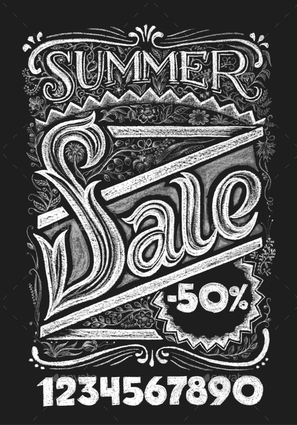 GraphicRiver Summer Sale Chalk Lettering 11863198