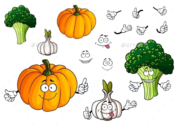 GraphicRiver Cartoon Pumpkin Garlic And Broccoli Vegetables 11863253