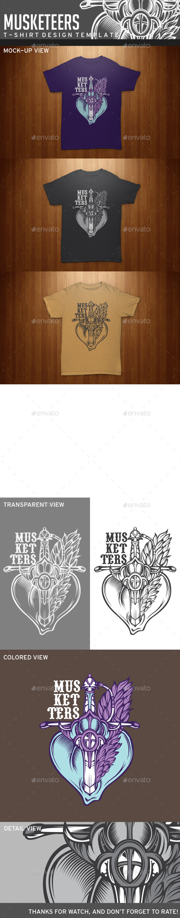 GraphicRiver Muketeers T-Shirt Template 11863534