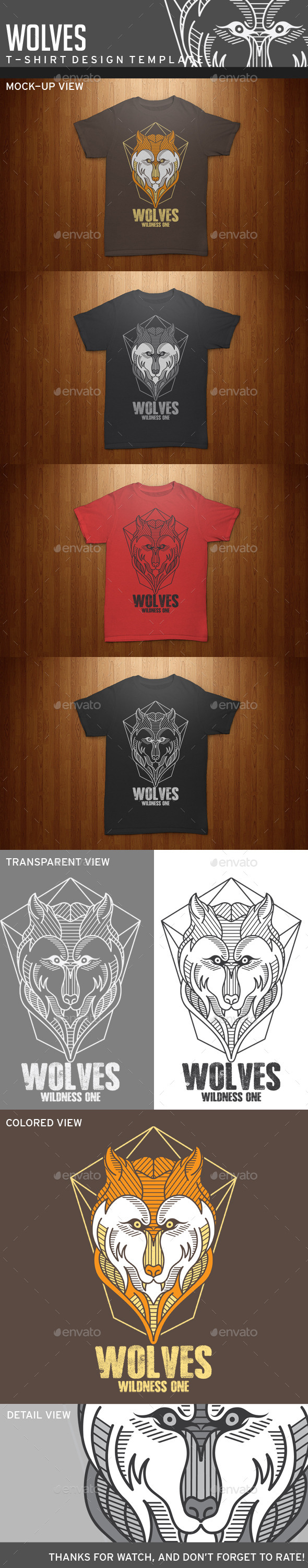 GraphicRiver Wolves T-Shirt Template 11863563