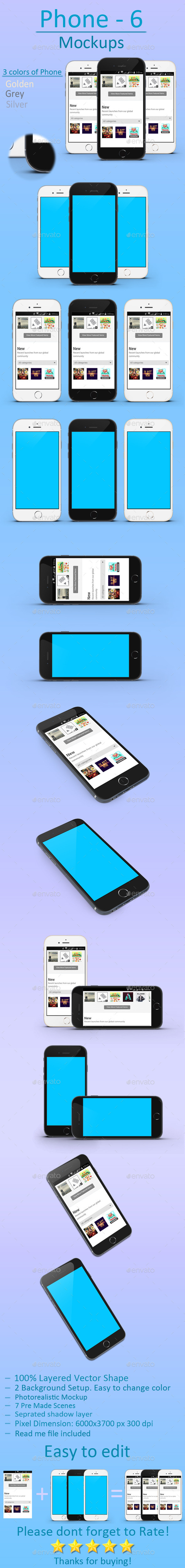 GraphicRiver Phone 6 mockups 11863714