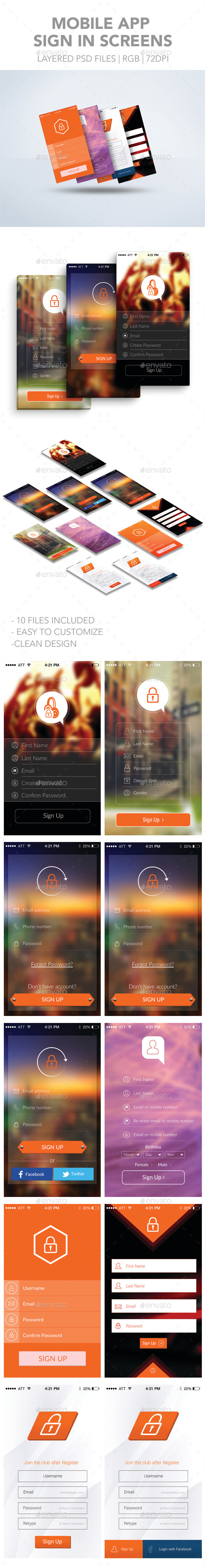 GraphicRiver Mobile App Sign Up Screens 11863716