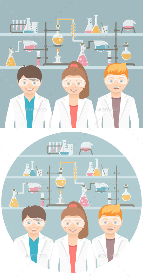 GraphicRiver Kids in Chemistry Class Flat Education Concept 11863813
