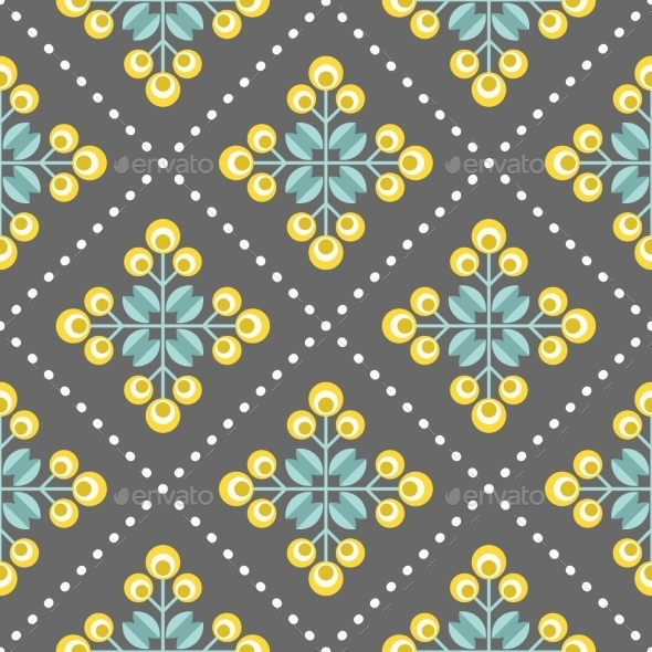 GraphicRiver Retro Floral Pattern Geometric Seamless Flowers 11863823