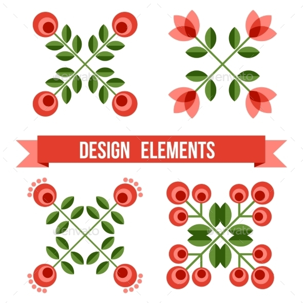 GraphicRiver Set Of Design Elements Retro Flowers 11863826