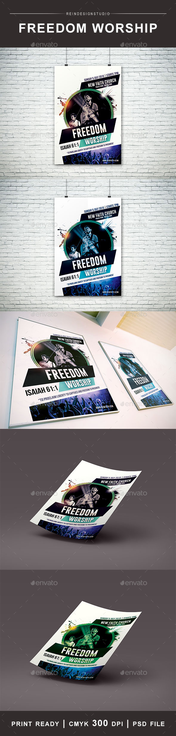 GraphicRiver Freedom Worship Church Flyer 11863893