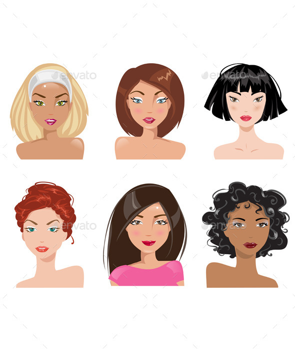 GraphicRiver Set of Female Portraits 11863986