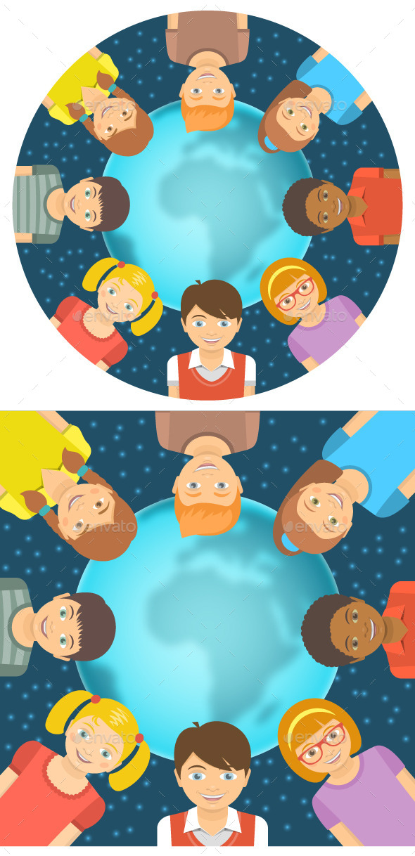 GraphicRiver Kids of Different Races around Earth Flat Concept 11864030