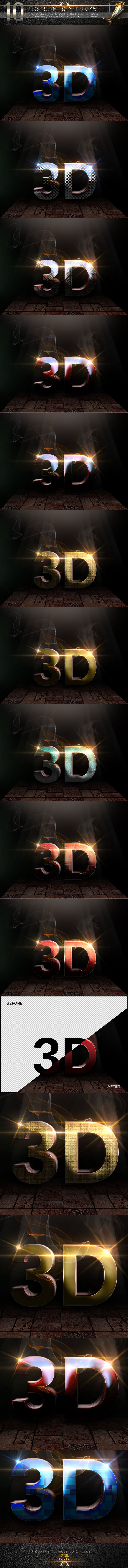 GraphicRiver 10 3D Text Styles V.45 11864120