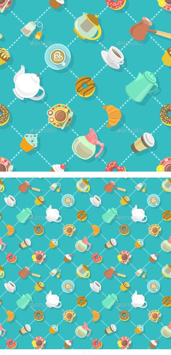 GraphicRiver City Cafe Coffee and Tea Flat Seamless Pattern 11864143