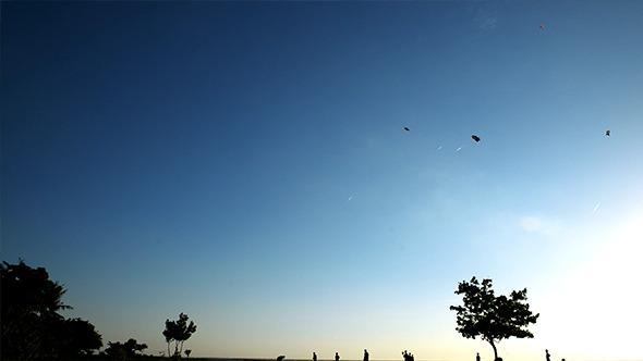 Kite in Sunset Sky