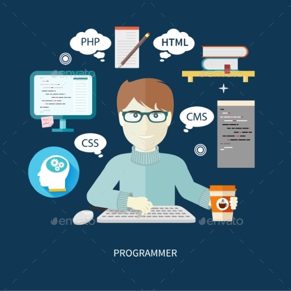 GraphicRiver Programmer On Workplace 11864359