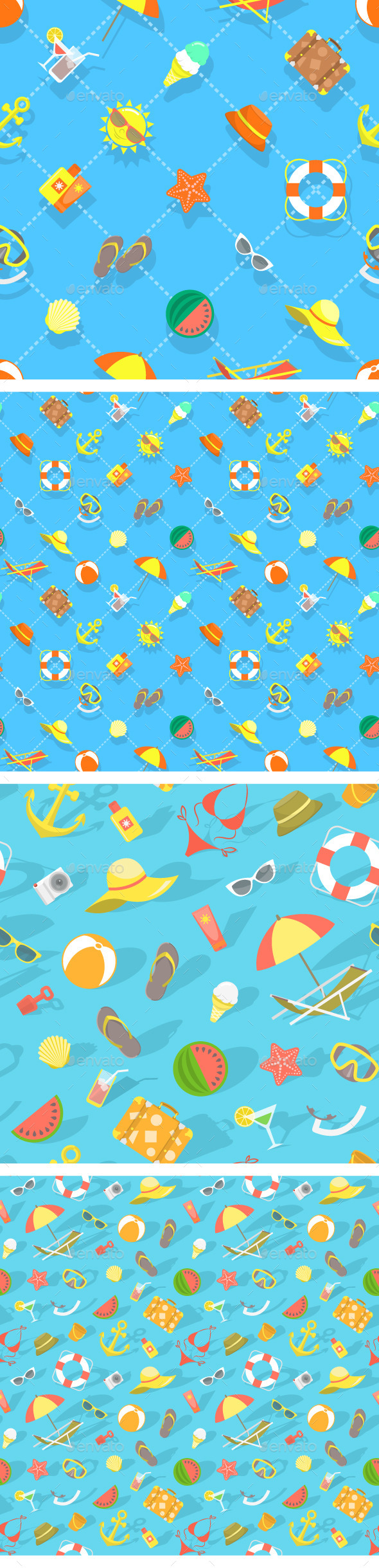 GraphicRiver Summer Vacation Beach Icons Flat Seamless Pattern 11864977