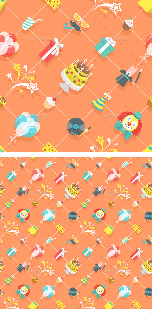 GraphicRiver Flat Birthday Party Celebration Seamless Pattern 11865482