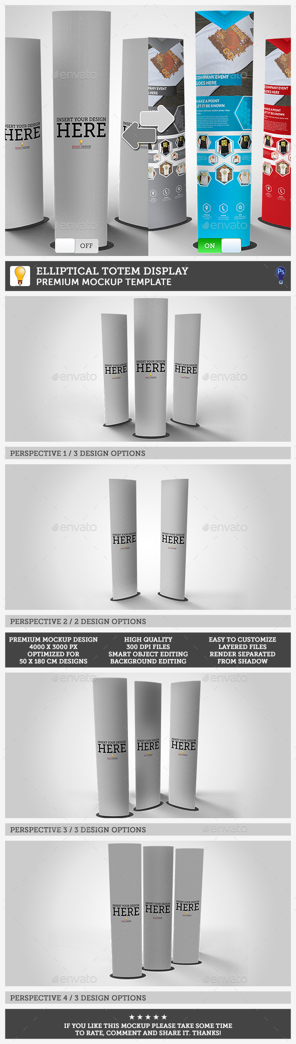 GraphicRiver Elliptical Totem Display Mockup 11865510