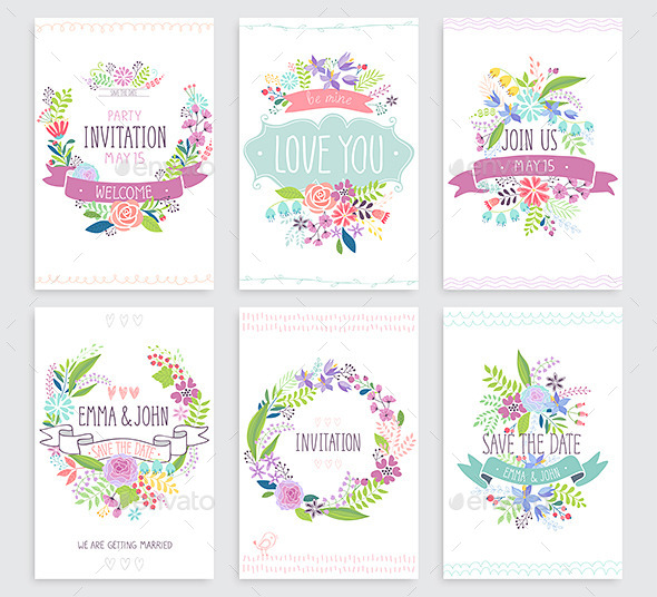 GraphicRiver Romantic Floral Hand Drawn Card Set 11865676