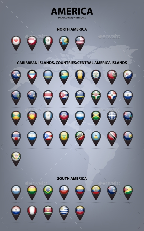 GraphicRiver Map Markers With Flags America Original Colors 11866030