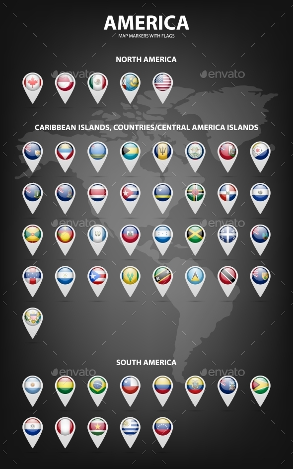 GraphicRiver Map Markers With Flags America Original Colors 11866075