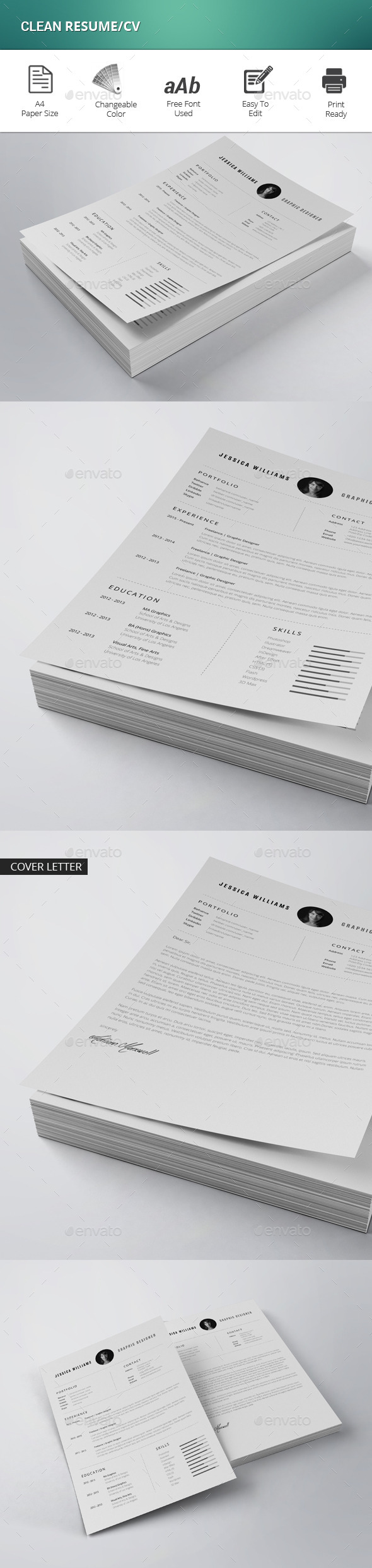 GraphicRiver Clean Resume CV 11866474
