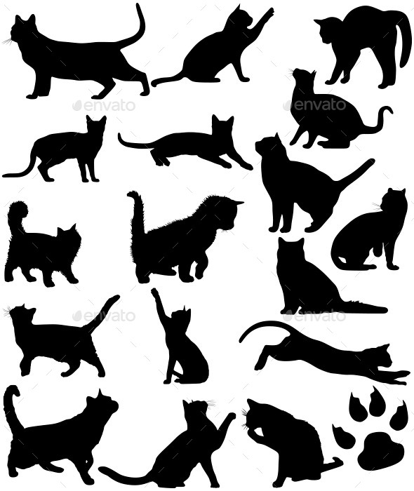 GraphicRiver Cats Silhouettes 11866672