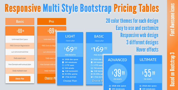 CodeCanyon Responsive Multi Style Bootstrap Pricing Tables 11849889
