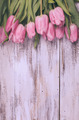 Pink tulips over wooden table - PhotoDune Item for Sale