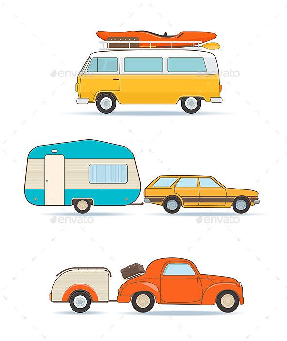 GraphicRiver Vintage Caravans and Cars 11866795