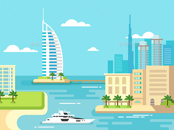 GraphicRiver Dubai City Beach Skyline 11867144