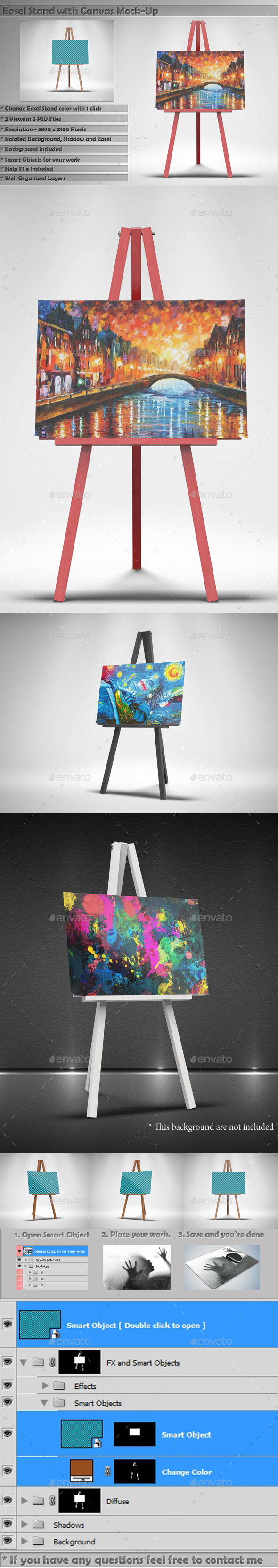 GraphicRiver Easel Stand with Canvas Mockups 11867264