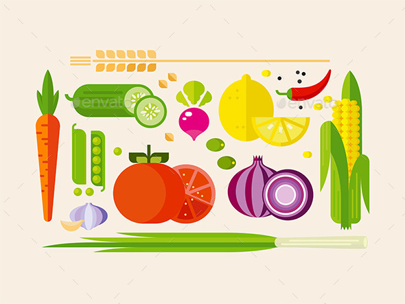 GraphicRiver Vegetables in Flat Style 11867606