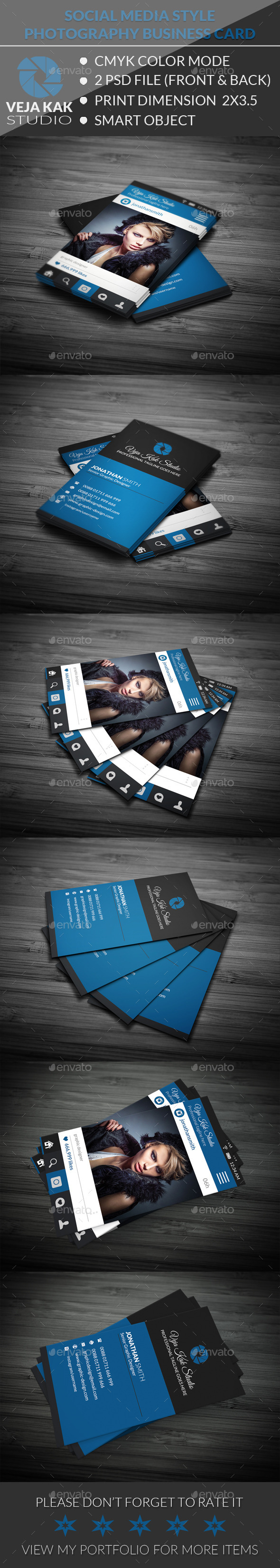 GraphicRiver Social Media Style Photography Business Card 11868296