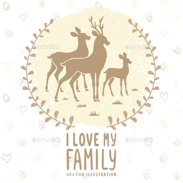 GraphicRiver Deer Family Card 11868599