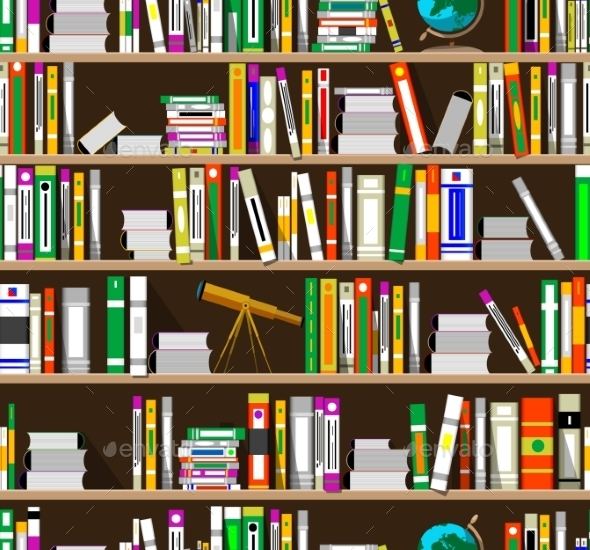 GraphicRiver Cartoon Bookshelves in the Library 11868671