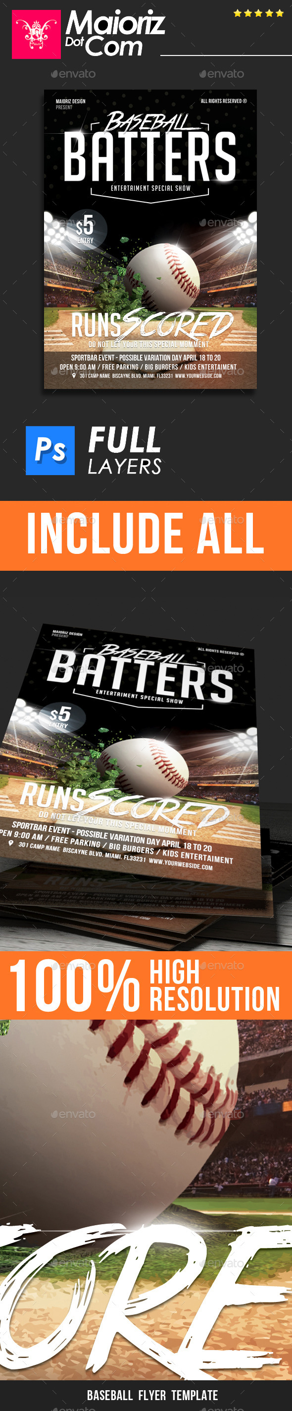 GraphicRiver Baseball Scored Flyer Template 11868929