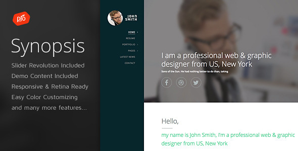 Synopsis – Resume/CV and Portfolio Theme (Portfolio) Download