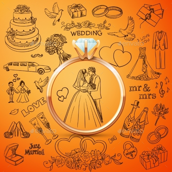 GraphicRiver Collection of Decorative Wedding Designs 11870527