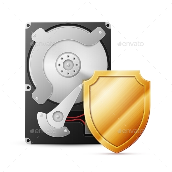 GraphicRiver Opened Hard Drive Disk with Shield 11870689
