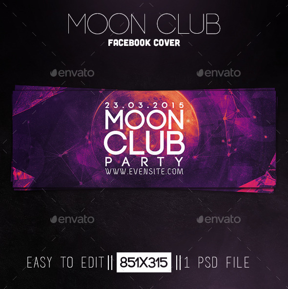 GraphicRiver Moon Club Party Facebook Cover 11870697