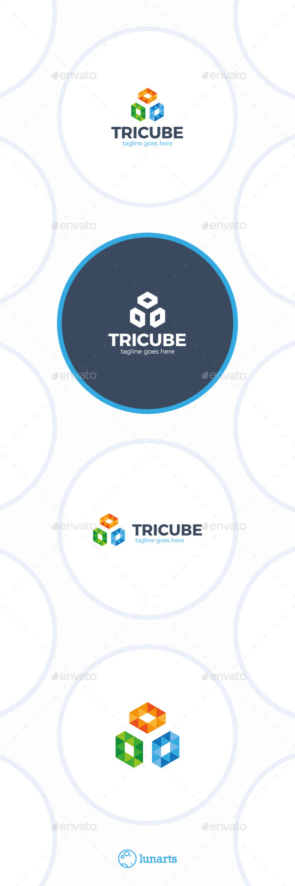GraphicRiver Three Cube Logo Trinity Triangle Square 11870701
