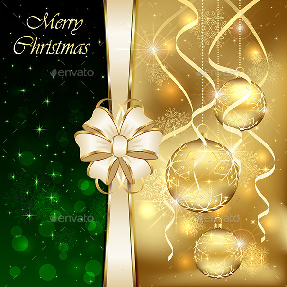 GraphicRiver Golden Baubles and Bow 11871084