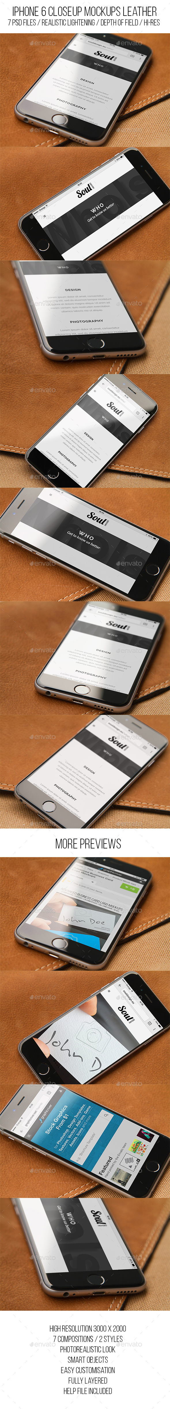 GraphicRiver iPhone 6 Closeup Mockups Leather 11871104