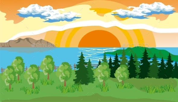 GraphicRiver Landscape With Trees Lake And Sun 11871139