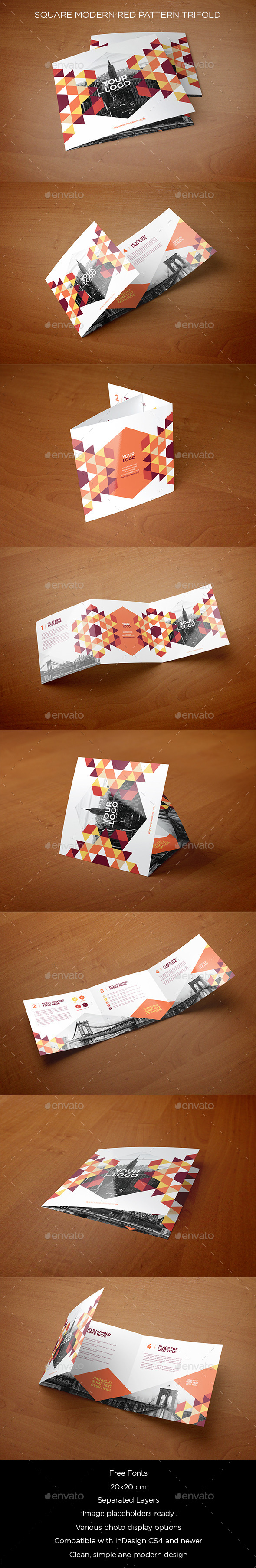 GraphicRiver Square Modern Red Pattern Trifold 11871464