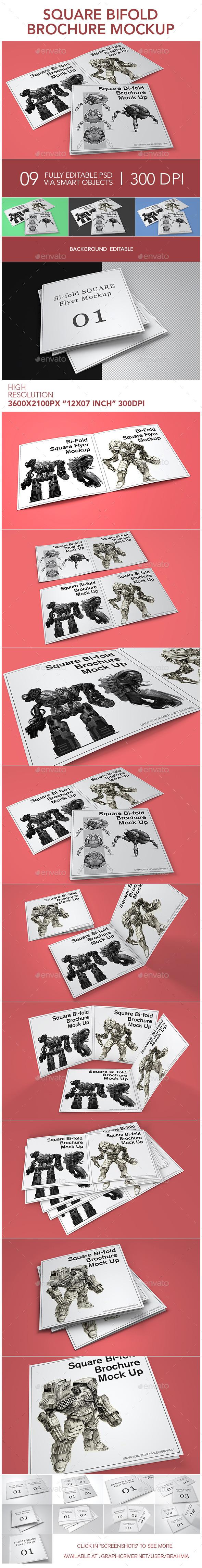 GraphicRiver Square Bifold Brochure Mockup 11871746