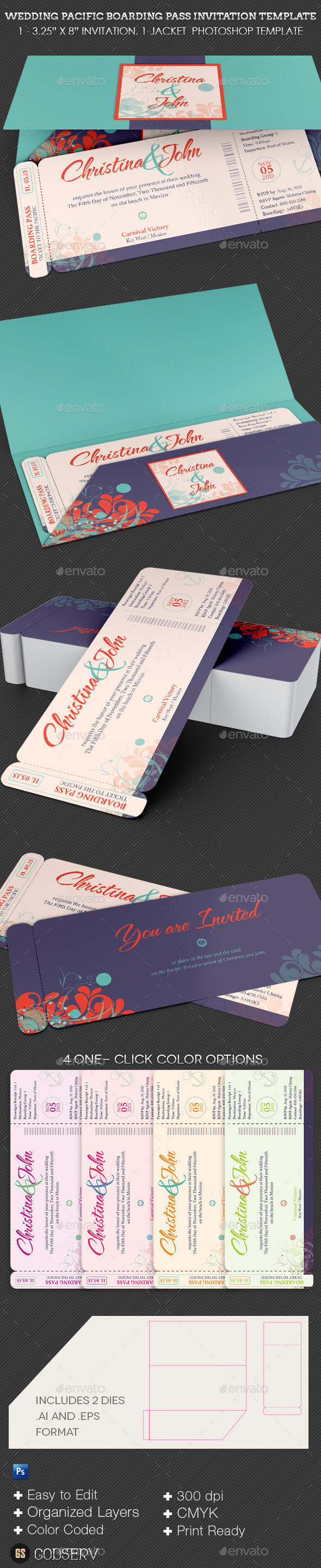 GraphicRiver Wedding Pacific Boarding Pass Invitation Template 11872647