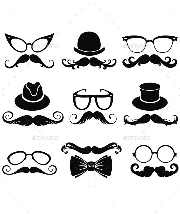 GraphicRiver Mustache Retro Party Set 11873140
