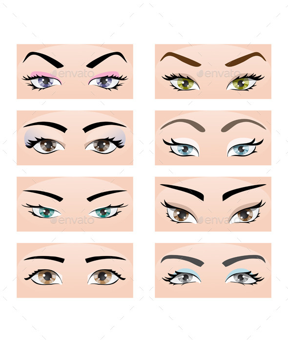 GraphicRiver Set of Female Eyes and Eyebrows 11873190