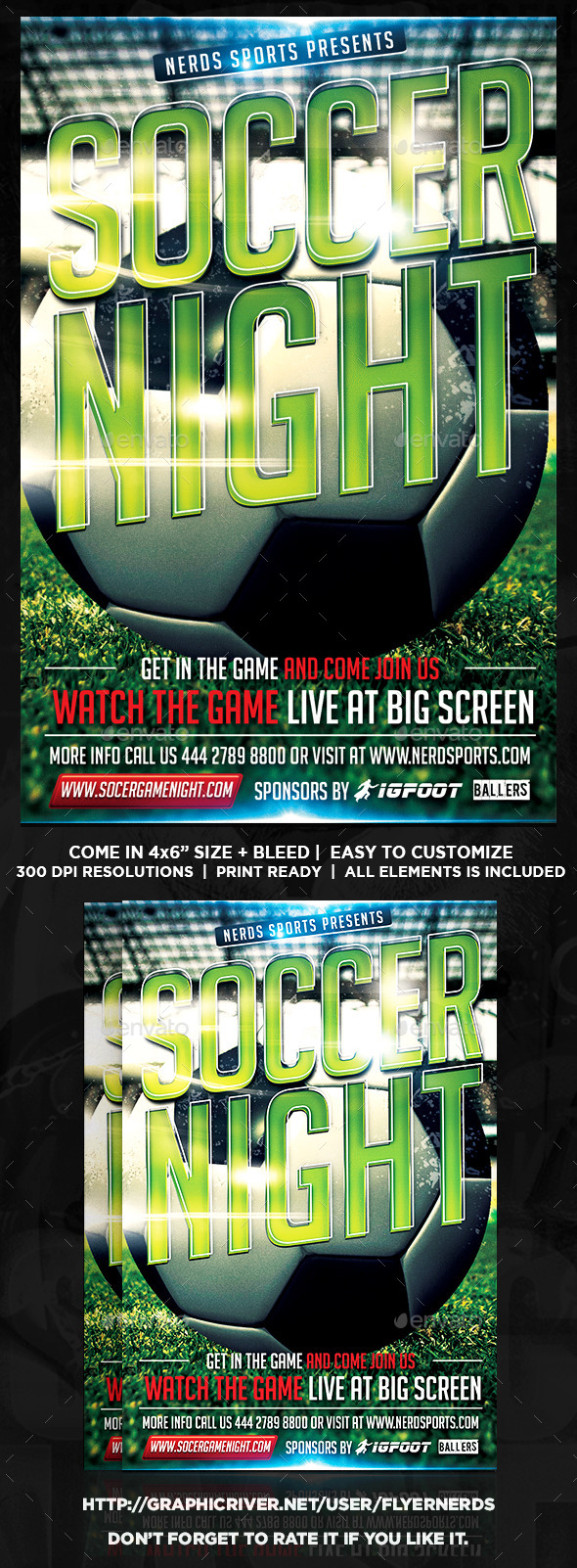 GraphicRiver Soccer Night Sports Flyer 11802945