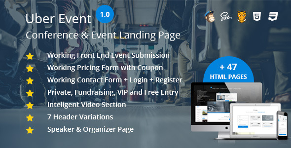ThemeForest Uber Event Conference & Event Landing Page 11817766