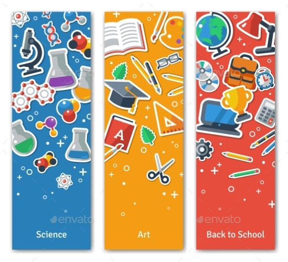 GraphicRiver Back To School Vertical BannersSet With Flat 11874166
